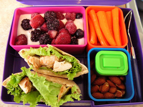 3 Healthy Bento Lunch Ideas for Kids. Using a bento box helps ensure you back all the elements of a well-rounded lunch in one box so you don't ton of containers to wash at the end of the day.