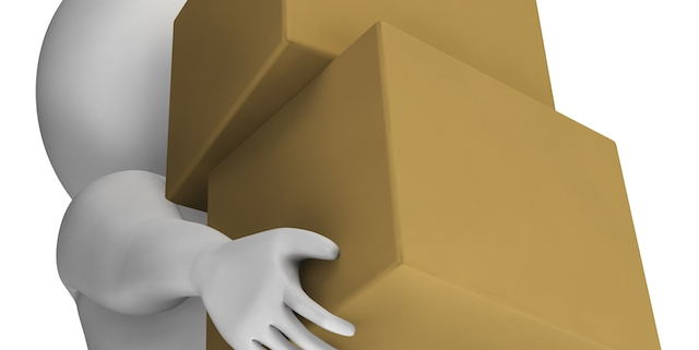 Man Holding Boxes Shows Delivery And Carrying Parcels