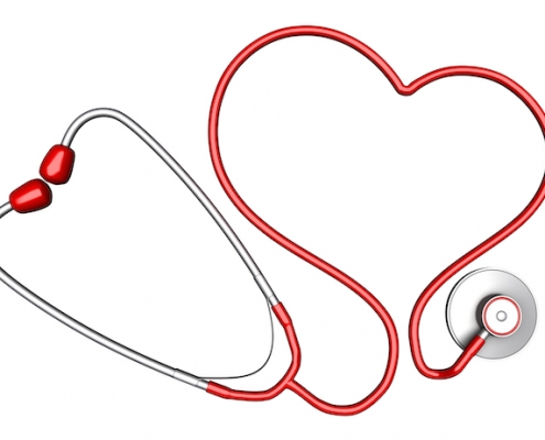 Heart-shaped stethoscope. Isolated on white background