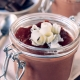 Sweet homemade chocolate pudding in the jar,selective focus